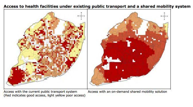 (A projeção de transporte coletivo sob demanda feita em Lisboa: No mapa da esquerda, a atual situação de acessos. No mapa da direita, como seria com o sistema de transporte sob demanda compartilhado)
