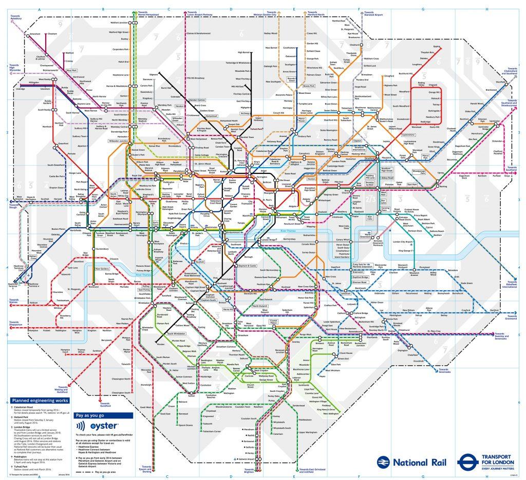 Mapa do metrô e linhas de trem de Londres. (Imagem: TFL)