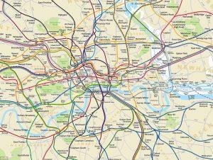 Mapa geograficamente real do metrô de Londres. (TFL)