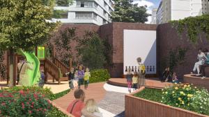 Pocket park substitui um estacionamento ao lado de escola. (Imagem: Projeto A Rua da Gente)