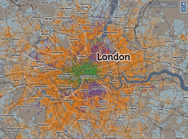 Mapa de como Londres se locomove. (Foto: CDRC Maps/Reprodução)