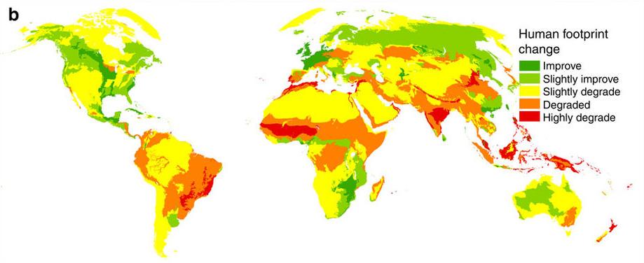Mudanças significativas na média de impacto humano de 1993 a 2009. (Foto: Reprodução/Nature Communications)