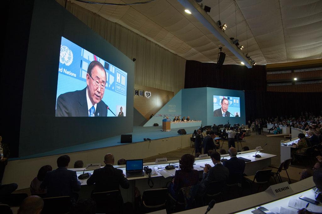 Secretário-geral da ONU, Ban Ki-moon, durante a primeira plenária da Habitat III (Foto: UN Photo/Eskinder Debebe)