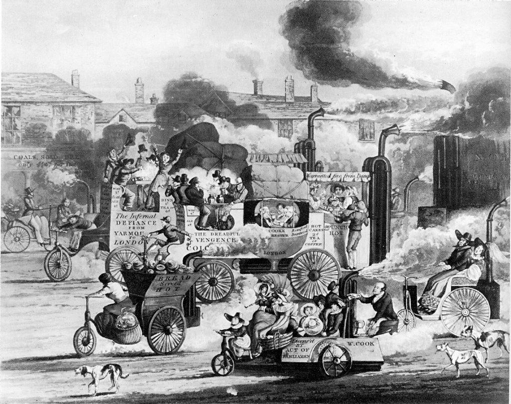 Cartoon de 1831 satiriza os futuros problemas com o transporte na cidade após a chegada da energia a vapor (imagem: domínio público)