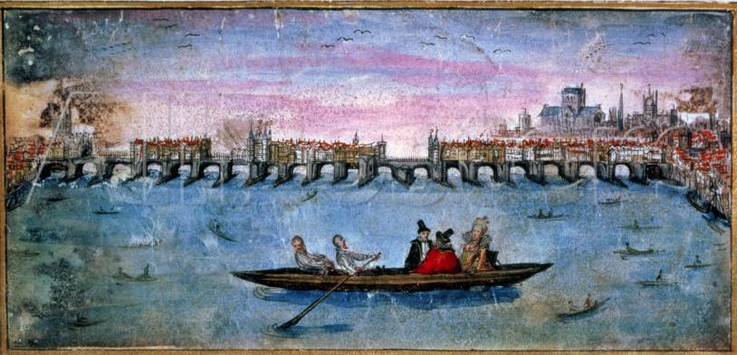 Reprodução de um manuscrito escocês do século 17 mostra a ponte de Londres e os waterman fazendo a travessia (imagem: domínio público)