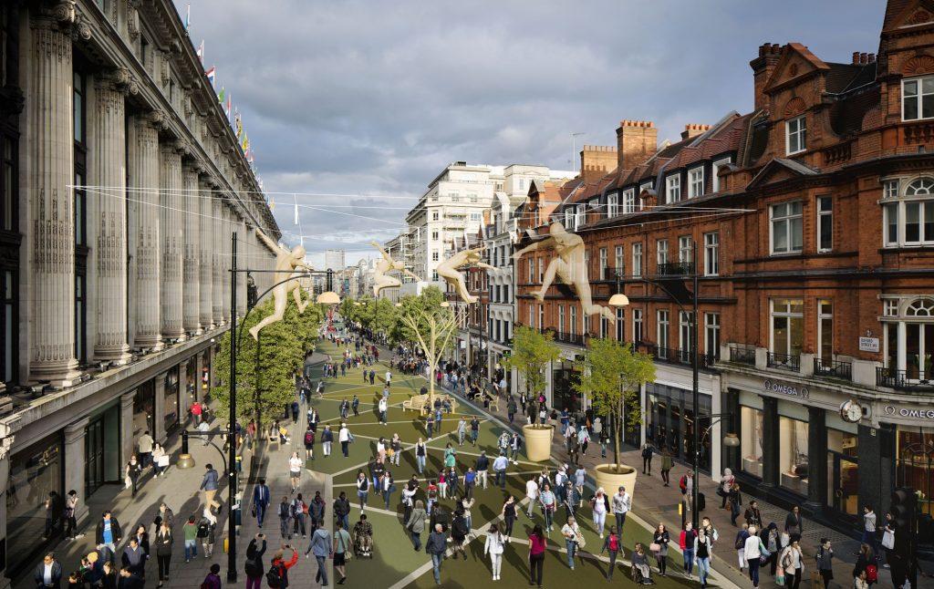 Futura identidade visual da Oxford Street pedestrianizada ainda não está pronta. A imagem do projeto é apenas ilustrativa. (Imagem: TfL)