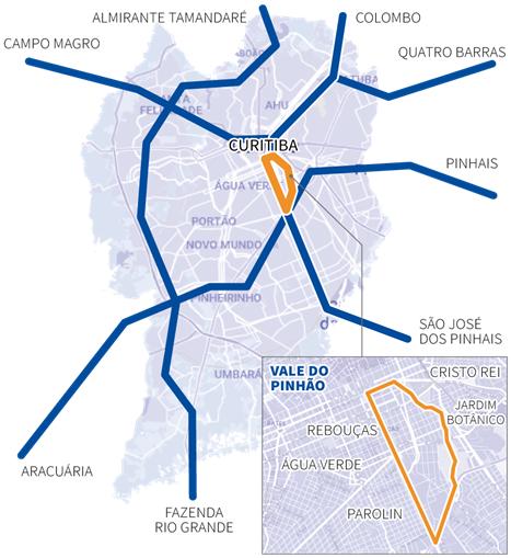 Cidade de Curitiba e área do Vale do Pinhão (Imagem: Gazeta do Povo, 2017)
